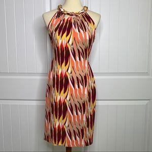 Donna Ricco NWT gold neck chain dress size 10